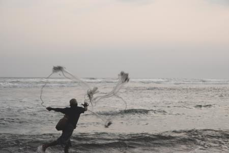 Man with a fishing net